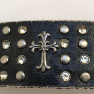 Leather Bracelet With Bling and Crosses